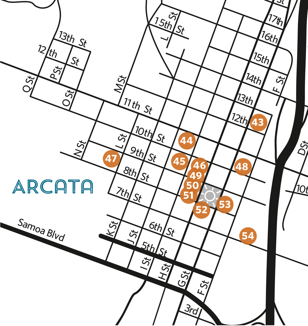 Overview map of locations - Arcata Closeup