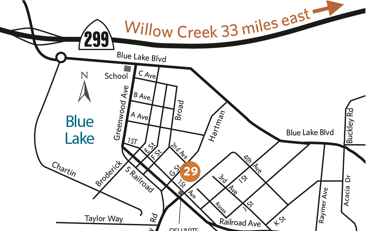 Map of locations - Blue Lake
