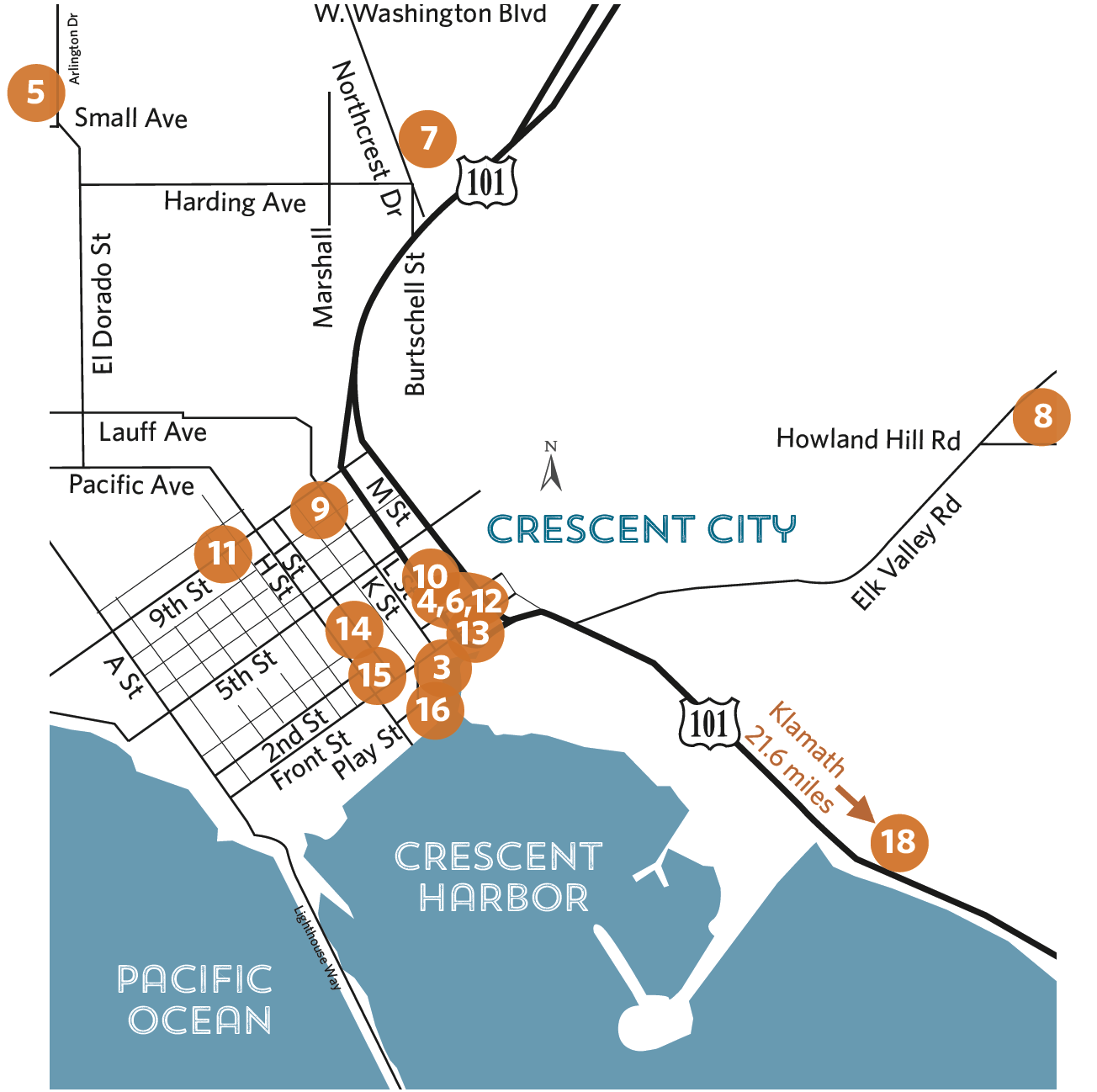 Overview map of locations - Crescent City