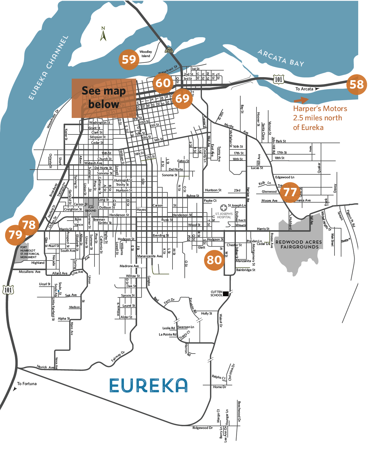 Overview map of locations - Eureka Overview