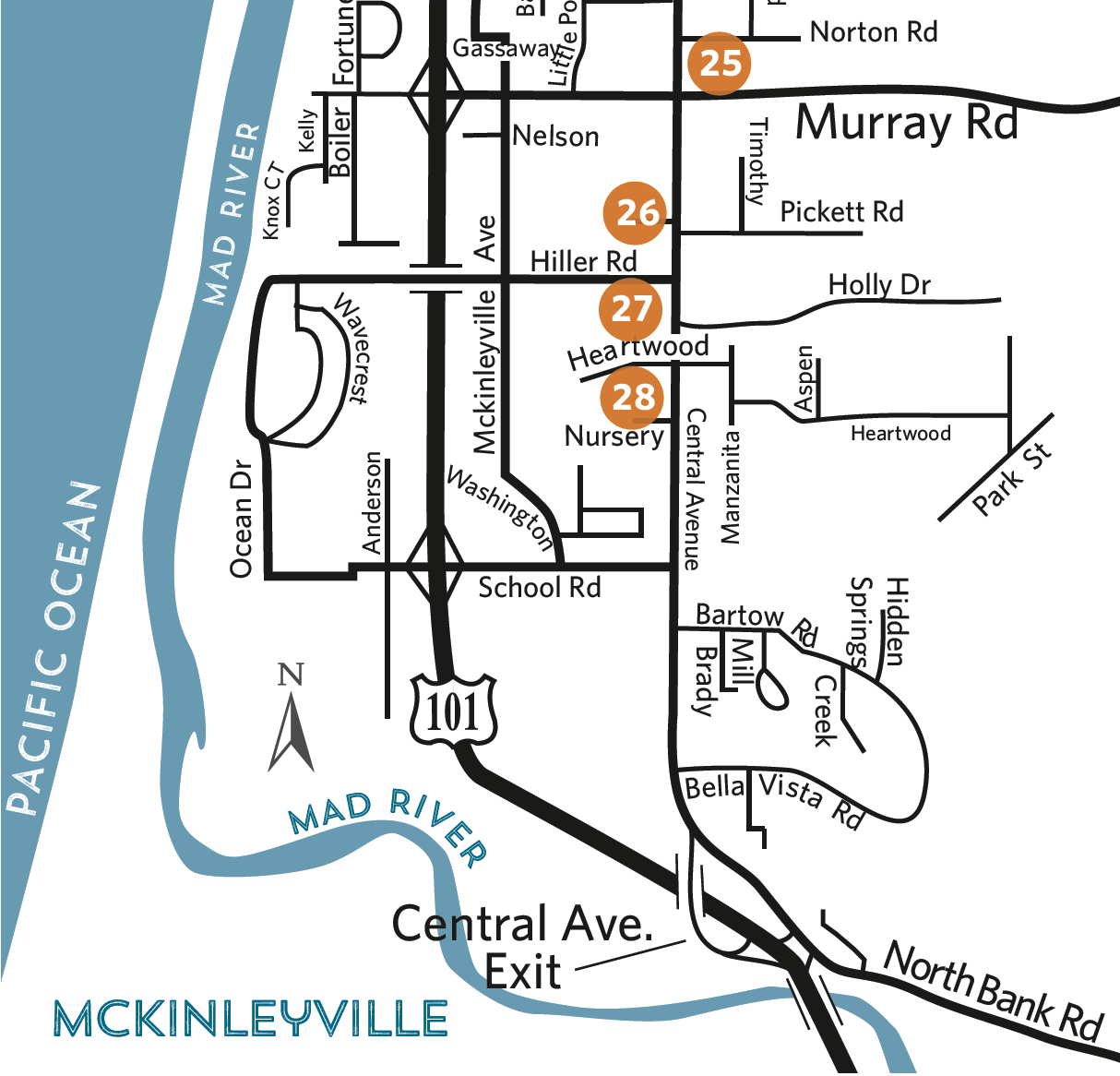 Overview map of locations - McKinleyville