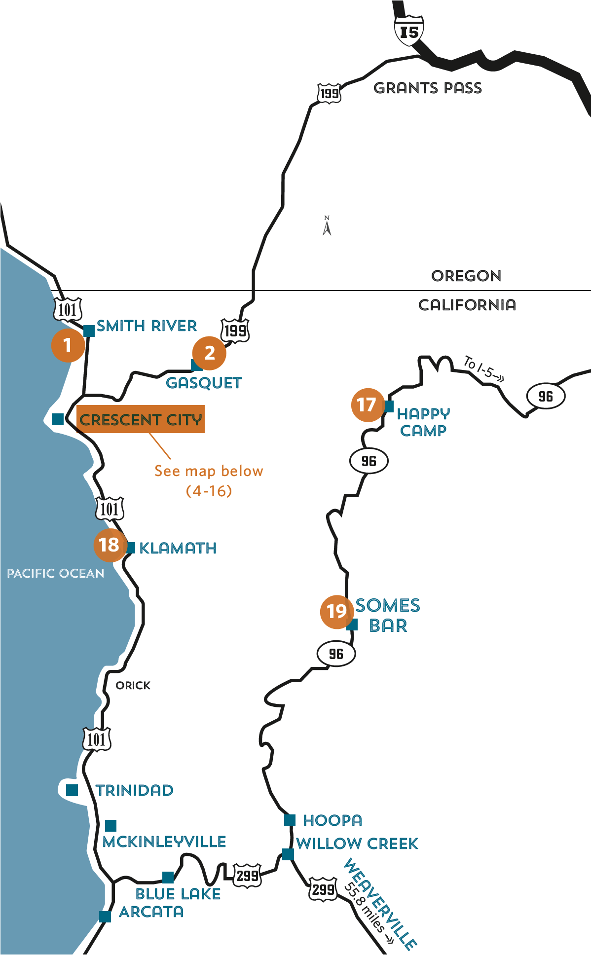 Overview map of locations - northern humboldt