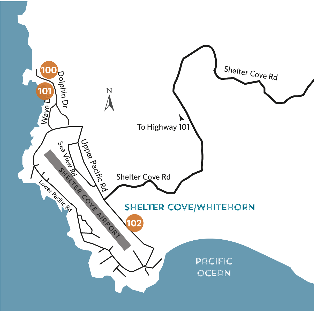 Location map - shelter cove