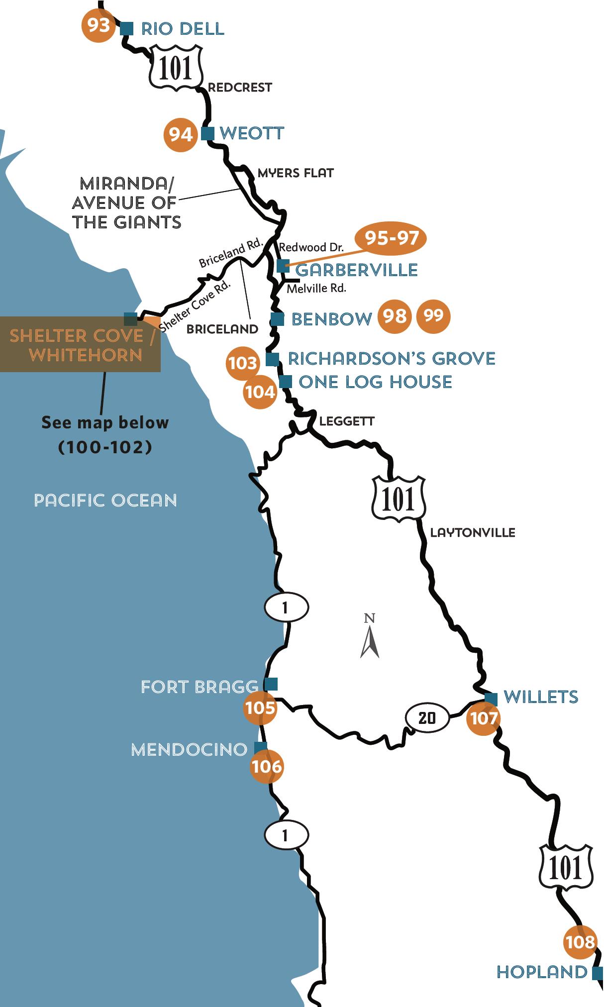 Location Map - Sohum/mendocino